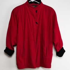 Vintage Red Corduroy Bat Wing Jacket, 80s